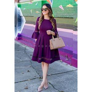 ELIZA J Bell Sleeve Purple Fit & Flare Dress